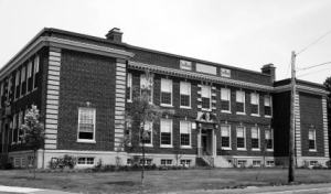 Black and white photograph of school building