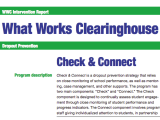 Evidence-Based Interventions in Education (Part II): A Tour of Check & Connect's What Works ClearinghouseReport