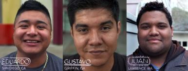 Photo of 3 Latino boys featured in Los Graduados