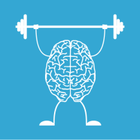 Illustration of brain lifting weights